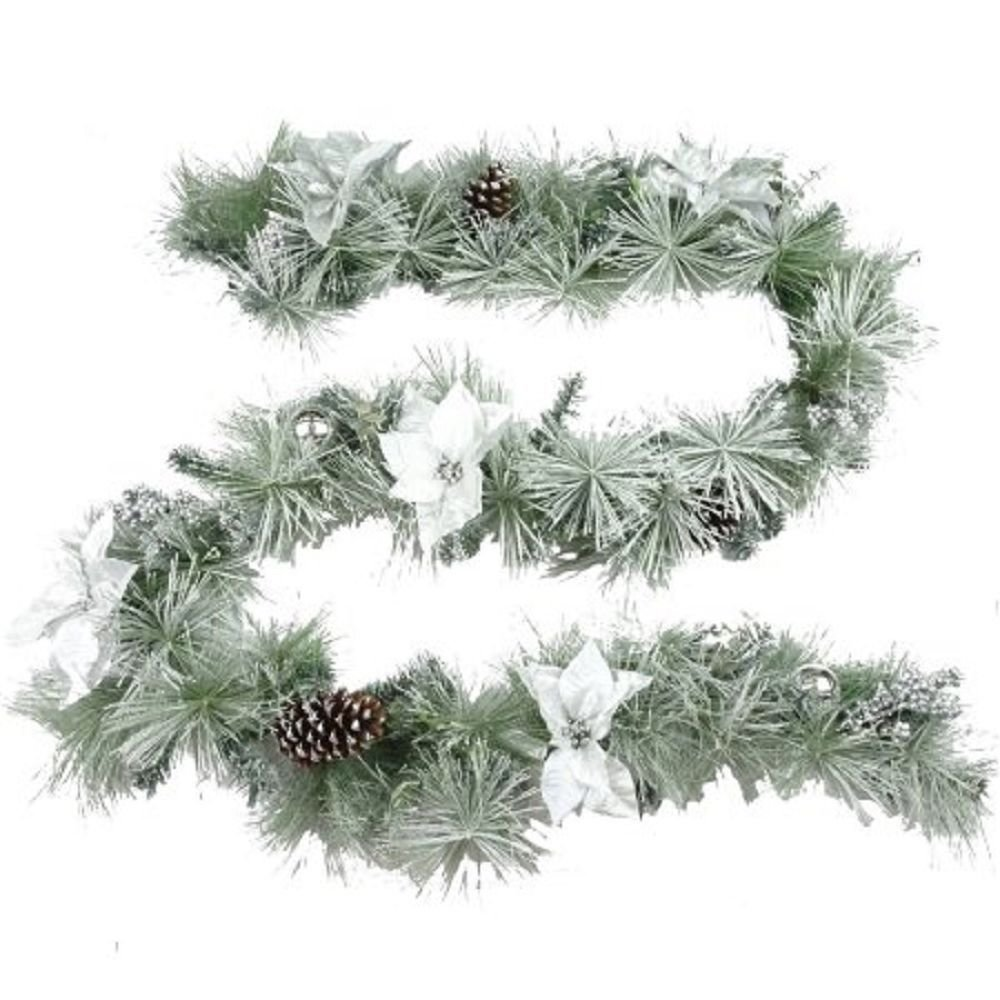 holiday time christmas decor 9 deluxe white flocked holly berry garland - Holiday Time Christmas Decor 9 Flocked Garland Green