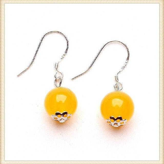 Beautiful 925 Silver Eardrop Yellow Jade Earrings Fashion 2017