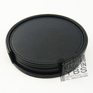 Customised Logo Round PU Leather Cup Coaster For Hotel