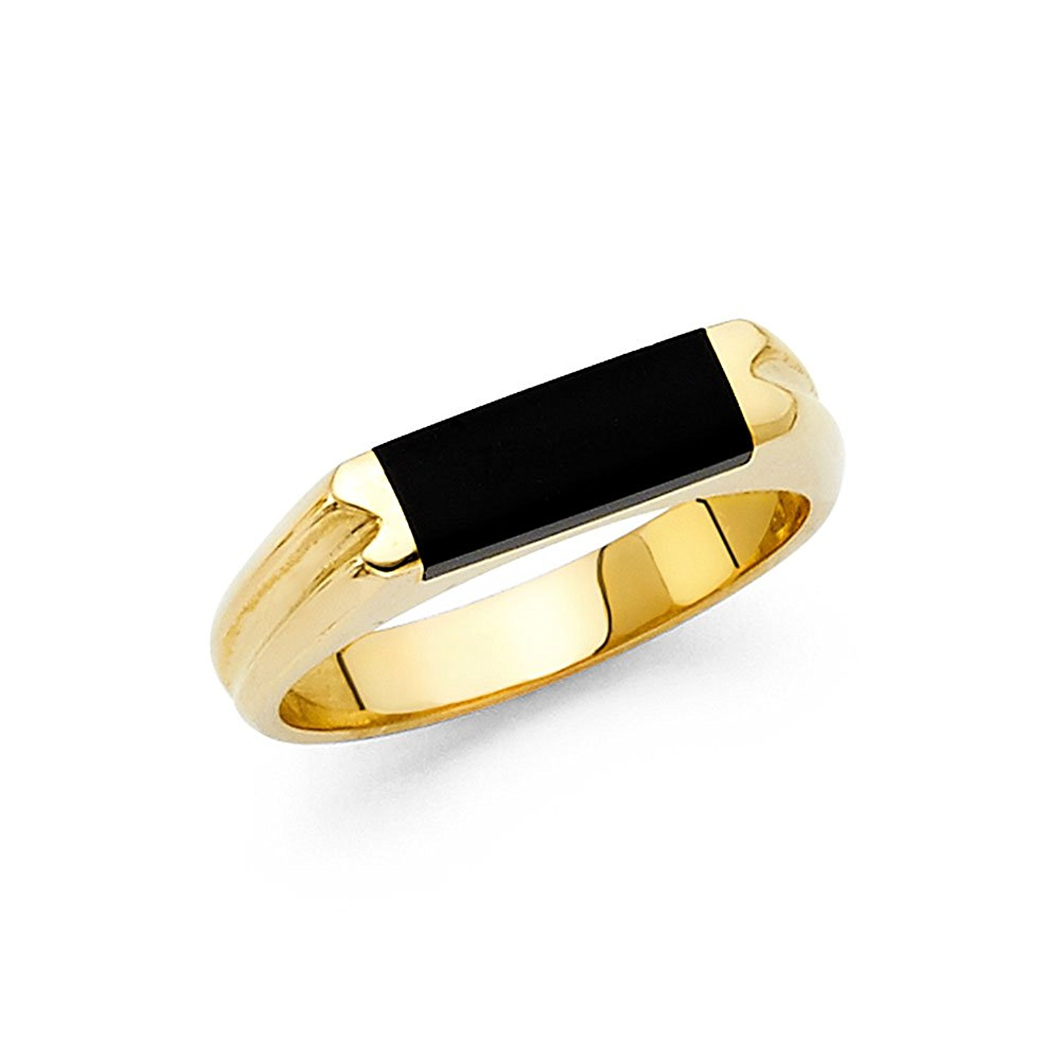 Onyx Ring Solid 14k Yellow Gold Band Mens Black Diamond Cut Stylish Square Design Polished Fancy