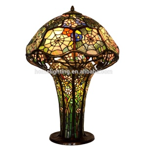 "TFZ-18261 Tiffany Style Stained Glass Cobweb Bronze Table Lamp China 3 Light 18""W 26""H"