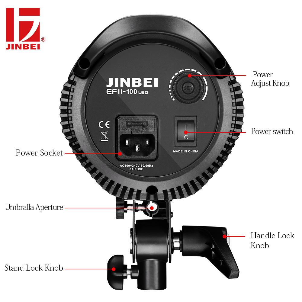 JINBEI EF II-100 LED 100W LED Continuous Light Source 12000Lm 10 times Brightness LED Sun Light for Portrait Video Photography