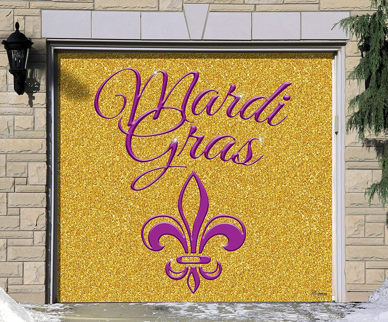 Victory Corps Outdoor Mardi Gras Decorations Garage Door Banner Cover Mural Décoration 7'x8' - Mardi Gras Gold Glitter- The Original Mardi Gras Supplies Holiday Garage Door Banner Decor