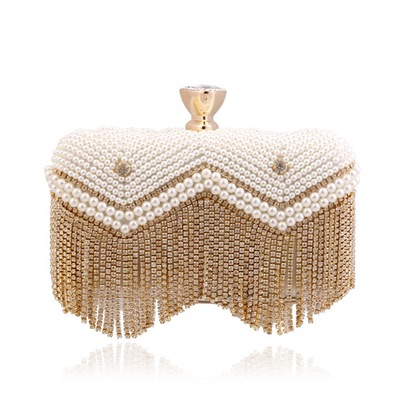 Handmade metal clutch ladies gold and silver evening handbags clutch tote bags stone beaded party online shopping India