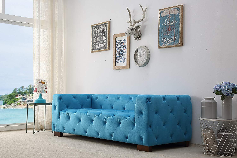 """Container Furniture Direct S5338-S Ossett Tufted Velvet Upholstered Modern Chesterfield Sofa, 87.4"""", Teal Blue"""