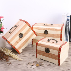 Mini Vintage Wood Coin Saving Bank Box Wooden Money Piggy Bank Treasure Stash Chest Box