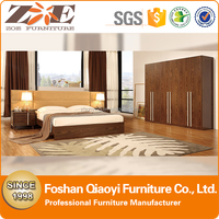 boy02 FoShan QiaoYi king size bedroom furniture /Latest Modern design wooden double bad/comfotable fabric fashion home furniture
