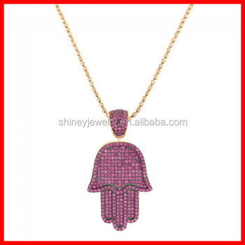 iced out hip hop jewelry micro pave ruby pink cubic zirconia big Hamsa hand  pendant necklace cdc259e2a2a8