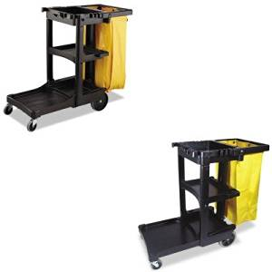 KITRCP617388BKRCP9T80YEL - Value Kit - Yellow High-Capacity Replacement Bag (RCP9T80YEL) and Rubbermaid Cleaning Cart with Zippered Yellow Vinyl Bag, Black (RCP617388BK)