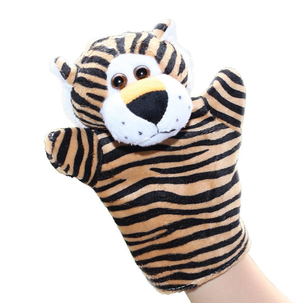 LUCKSTAR(TM) 1PC Cute Velvet Animal Style Hand & Finger Puppet Toy Plush Toy For Kids Preschool Kindergarten (Tiger)