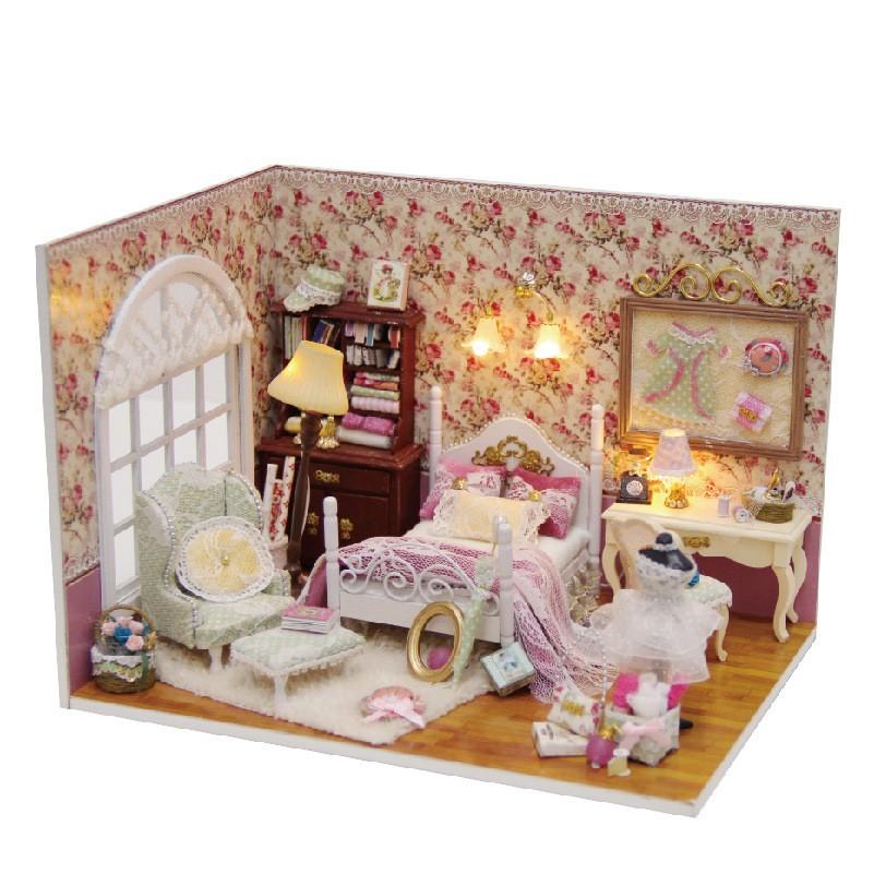 2016 New Style DIY Wooden Doll House Room Box Handmade 3D