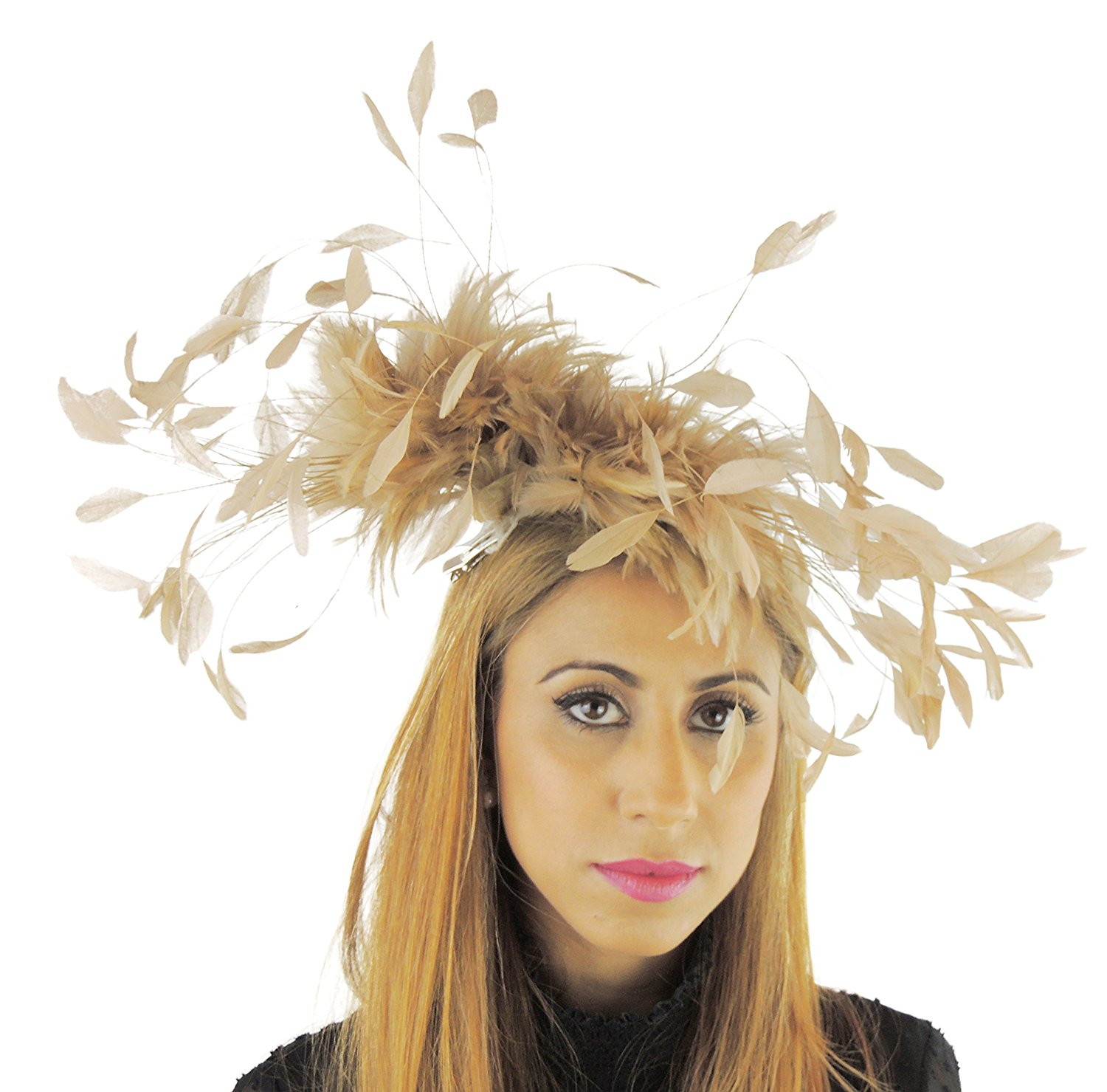 Get Quotations Hats By Cressida Large Pheasant Feather Kentucky Derby Fascinator Hat With Headband In Burnt Orange