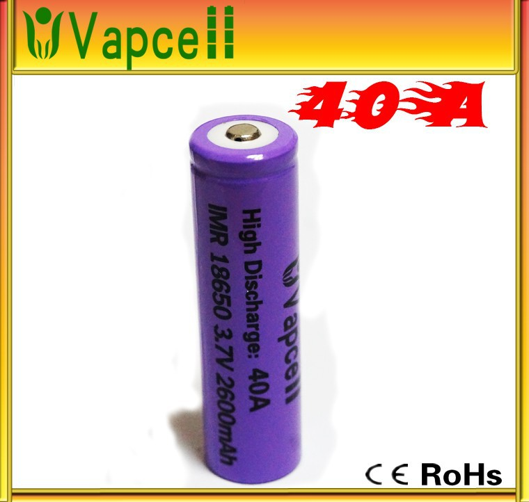 2015 Newest !!! VapCell 18650 40a 18650 2600mAh 3.7V 40a battery, 18650 40a,18650 rechargeable batteries for power tools/e-cigs