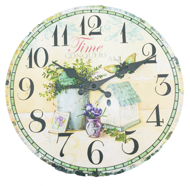12 inch mdf wall clock wood decor with white box packing fm