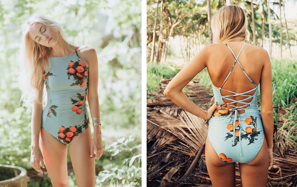 2018 Printed One Piece Swimsuit Women Backless Cross Bandage Bathing Suits Sexy Floral Swimwear Halter Up Beachwear
