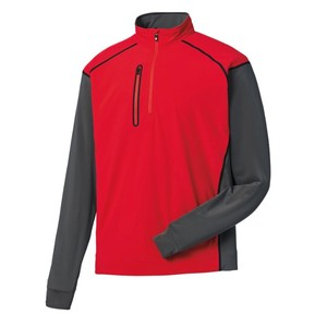 Mens Long Sleeve Golf Tops Red And White Polyester/Spandex Half-Zip Pullover Golf Shirt