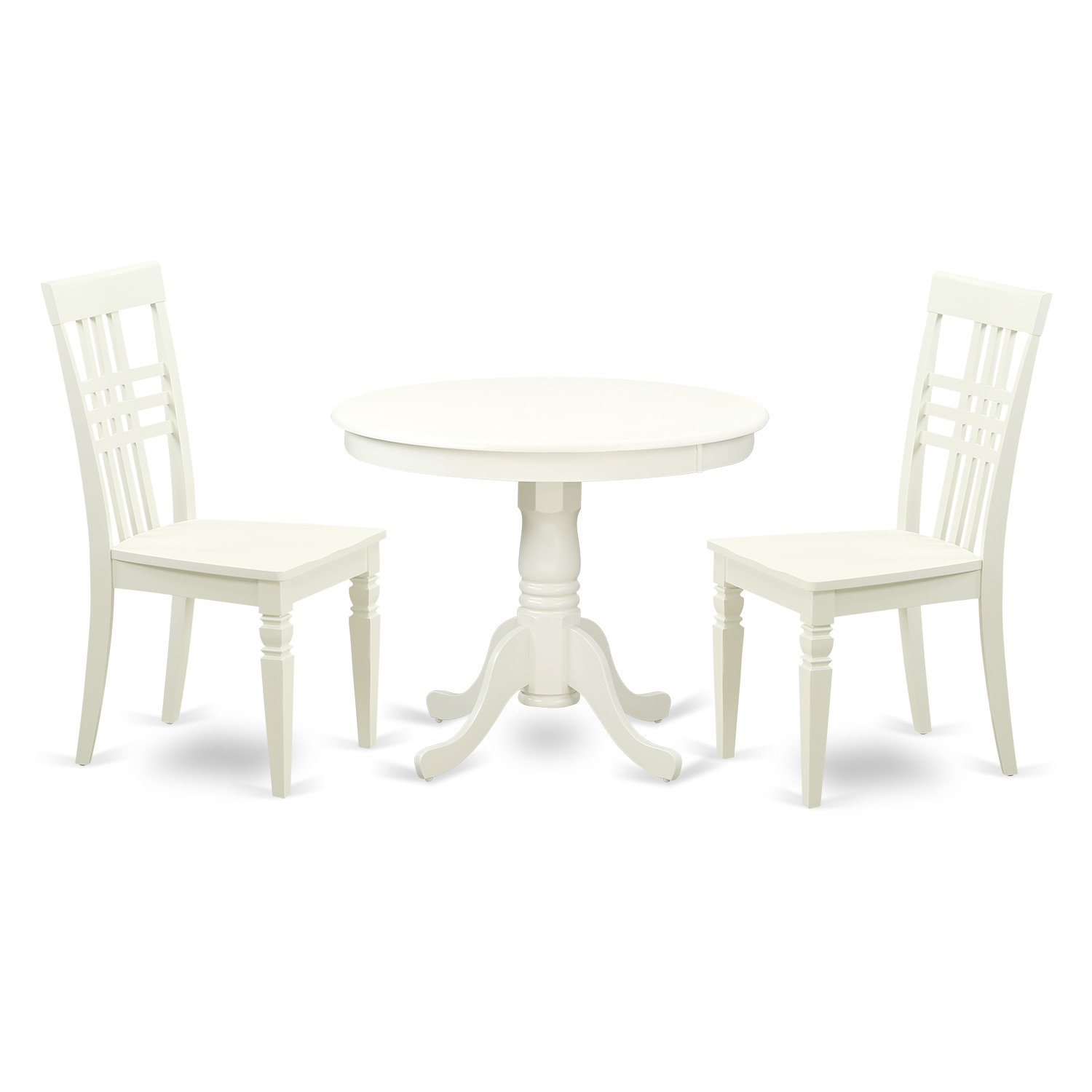 East West Furniture ANLG3-LWH-W 3 PC Set with 1 Kitchen Table & 2 Wood Kitchen Chairs Having A Rich Linen White Finish