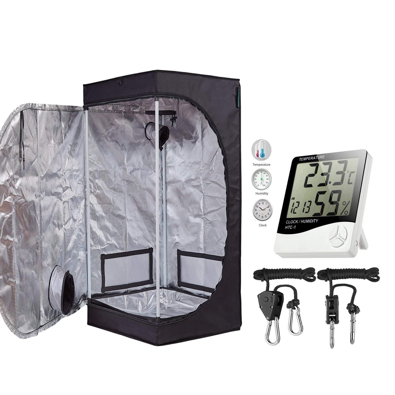 "TopoGrow 24""X24""X48"" Mylar Hydroponic Grow Tent Kit W/Digital Hygrometer Thermometer Humidity Monitor+2 PCS/1 Pair Rope Grow Light Hangers Ratchet Indoor Plant Growing (24""X24""X48"")"