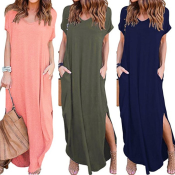 Ecowalson Hot Women's Casual Loose Pocket Long Dress Short Sleeve Split Maxi Dress