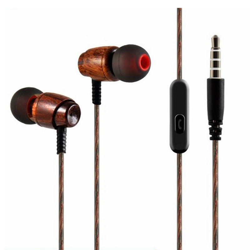 Super Bass Wooden Headphones In-ear Noise Isolation Earphones