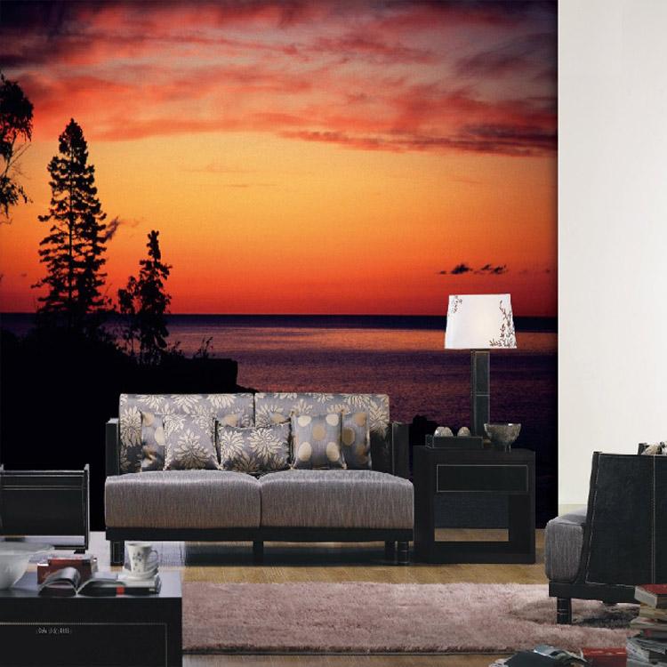Wohnzimmer Flur Wand 3d Warme Sonnenuntergang Landschaft Wandbild Tapete  Installer Lieferanten Berg Baum Wand Papier See