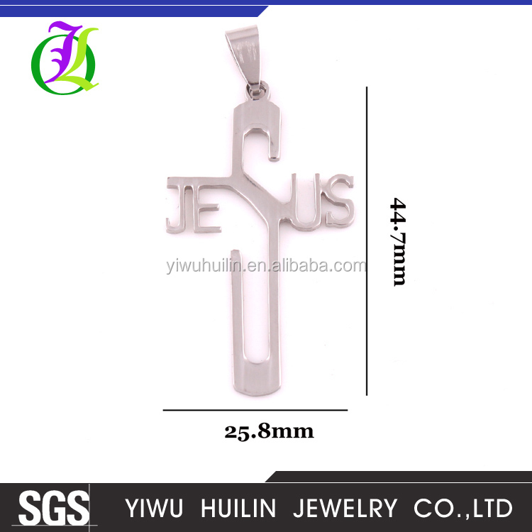 IMG 3182 Yiwu Huilin Jewelry New fashion Stanless steel cross pendant Tide male personality gothic Jesus to the cross
