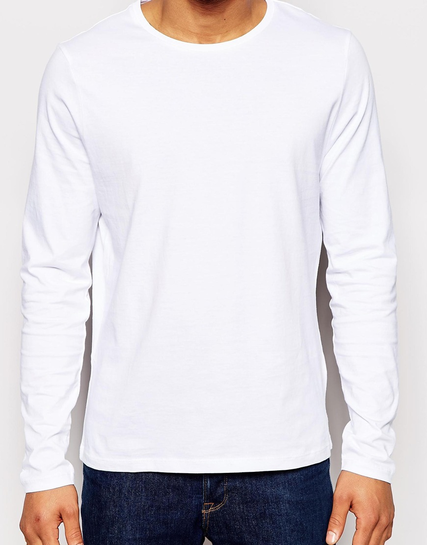 100 Cotton Plain White Blank Mens Long Sleeve T Shirt