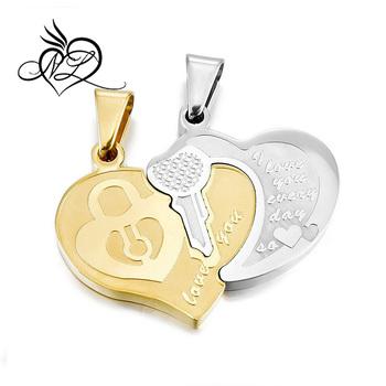 44549dddfd5f Los hombres. las mujeres 2 unids colgante Acero inoxidable collar de oro de  plata corazón