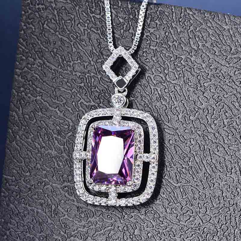 HP067 Huilin Jewelry European and American style Copper plated Necklace Zircon Pendant Necklace