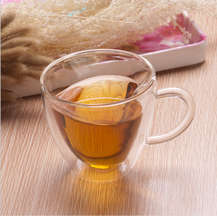 hot heart shape double wall borosilicate clear glass tea cup with handle