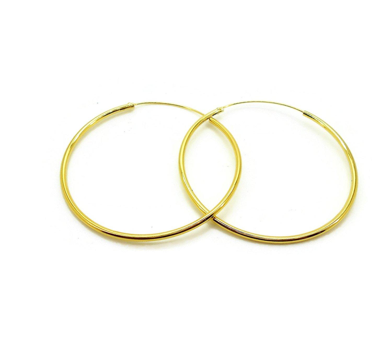HOOPS CLASSIC THAI EARRINGS 22K 23K 24K THAI BAHT YELLOW GOLD PLATED 2 inch