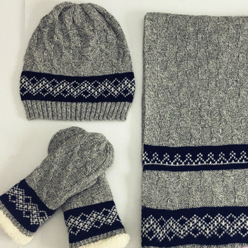 cab6fe763c016 Man s Winter Customized Knitted Hat Glove Scarf Set