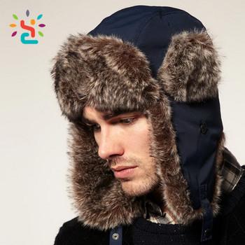 76bb57a99a4c7 Stylish trapper hat earflap Trapper Bomber Aviator Russian Trooper Fur  Winter Ski Hat Mens Womens