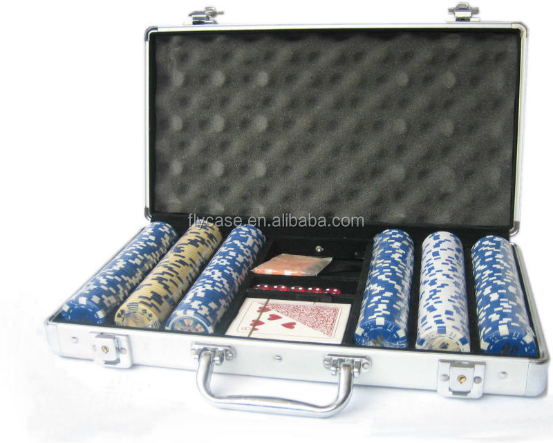 2017 new professional 300pcs aluminum poker set with aluminum storage case in casino