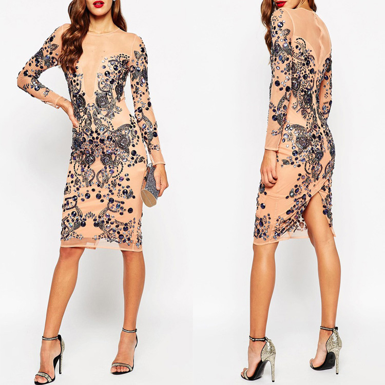 New Fashion Plus Size Embellished Beaded Mesh Women Midi Bodycon Dress