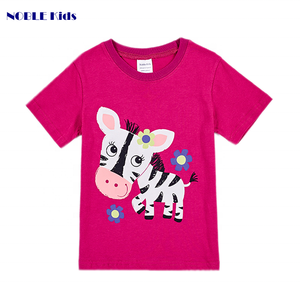 Custom plain printed crewneck kid clothing summer 100% cotton fabric spot wholesale animal zebra printing T-shirt for girl baby