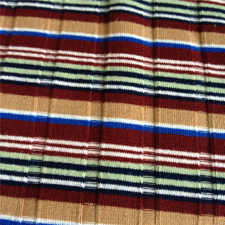 Yarn dyed feeder stripe knitted cotton 30s 95 cotton 5 spandex yarn dyed striped jersey knit fabric for shirt