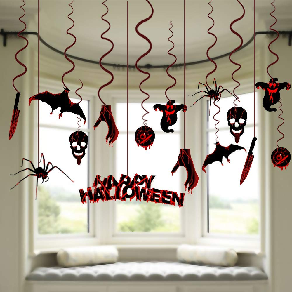 CQI Halloween Haunted House Hanging Decorations - 15Ct Bats /Ghost/Skulls/Spiders/Eyeballs Zombie Decorations Swirl Ceiling Wall Decoration Set