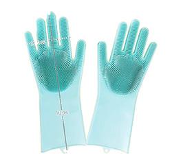 New Magic Silicone Dish Washing Gloves With Scrubber Heat Resistant Brush Scrubbing Glove Kitchen Hand Glove
