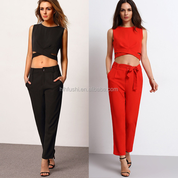 New arrival women clothing sleeveless crop top Pants Set women summer wear two  piece sets 60fa5db69