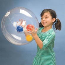 Transparent clear PVC inflatable beach ball toys with small bell inside