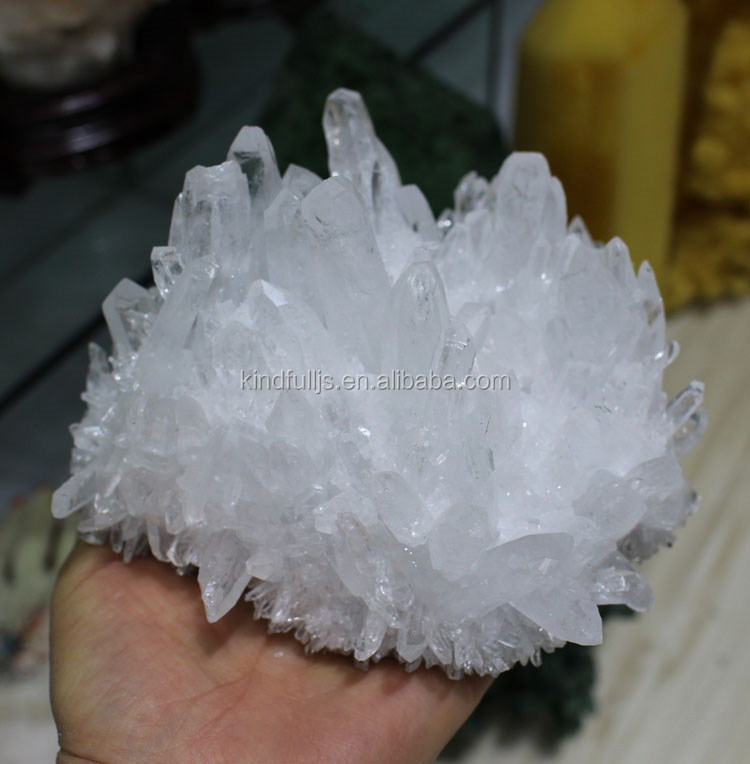 wholesale small shiny snow white clear crystal quartz clusters wands points