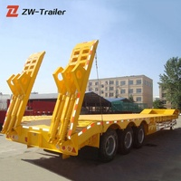 multi axle 13m 60ton hydraulic lowboy low bed truck trailer