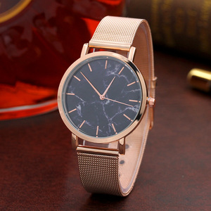 Big Sale Christmas Gold Band Marble Face Fashion Women Dress Watch Stainless Steel Wristwatch MM001