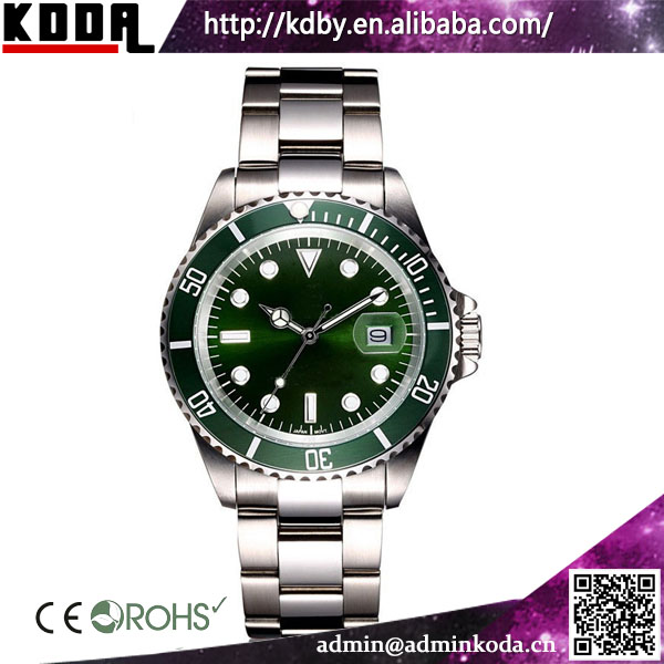 Rotatable Bezel Green Dial Submarine Metal Cheap Mens Watches Top Brand