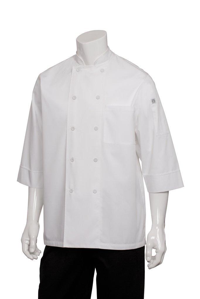 Chef Works JLCL-WHT-M Basic 3/4 Sleeve Chef Coat, White, Medium