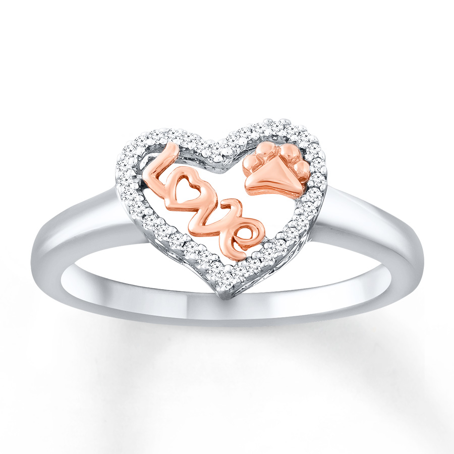 Hot Sell 925 Sterling Silver Letter Love Paw Heart Ring