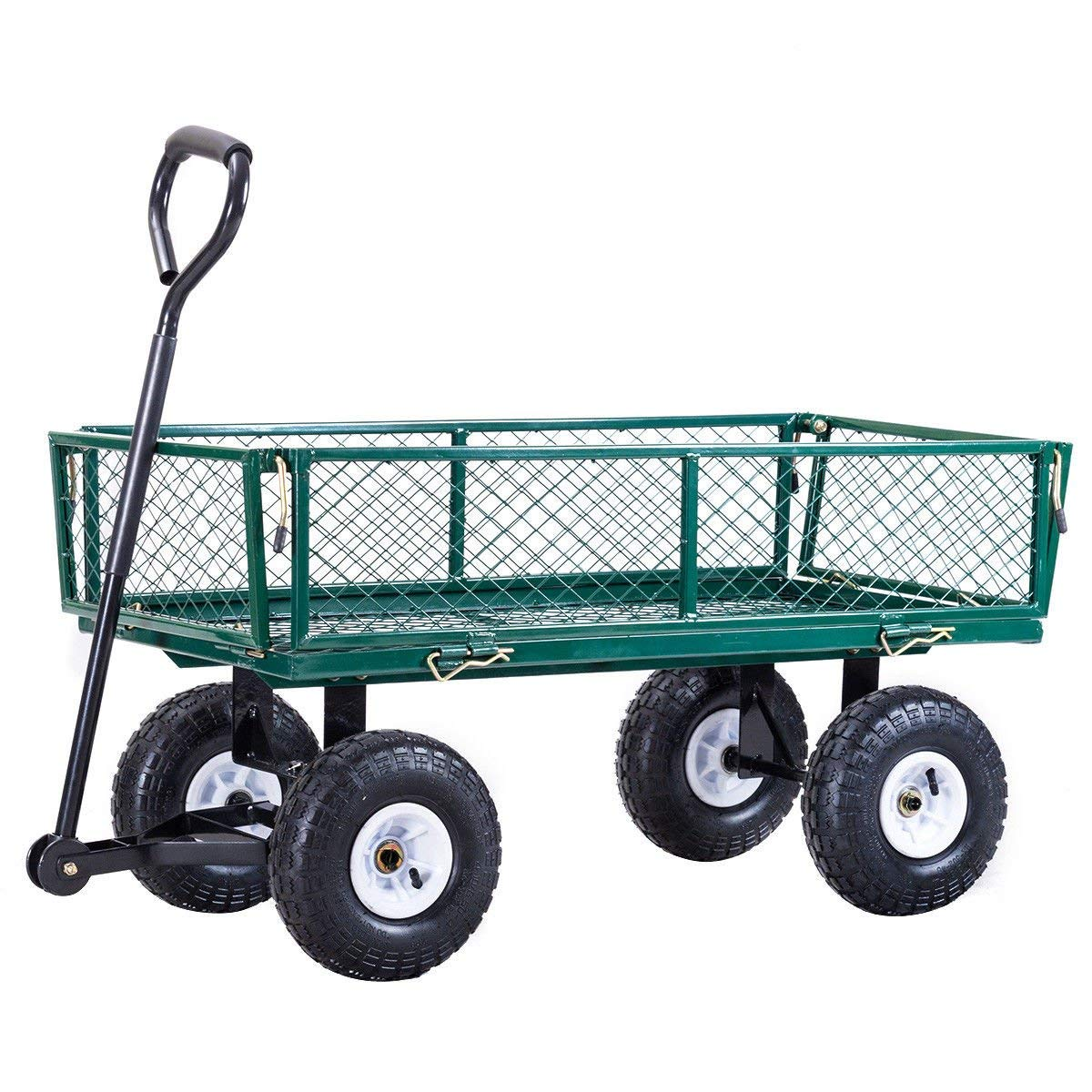 Globe House Products GHP 330-Lbs Capacity Green Steel Frame Garden Utility Cart Wagon with Rubber Wheels