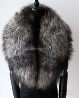 Luxe Pull through Style Genuine Silver Fur Scarf High Quality Real Fox Fur Collar