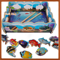China Factory Yiwu Craft Product Wooden Parent-Child Children'S Magnetic Fishing Toys Set Fishing Game Toys